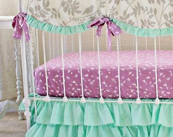 Mint Green Baby Girl bedding, purple and mint modern crib bedding, lavendar gray mint purple crib set , mint ruffle crib skirt  lottiedababy