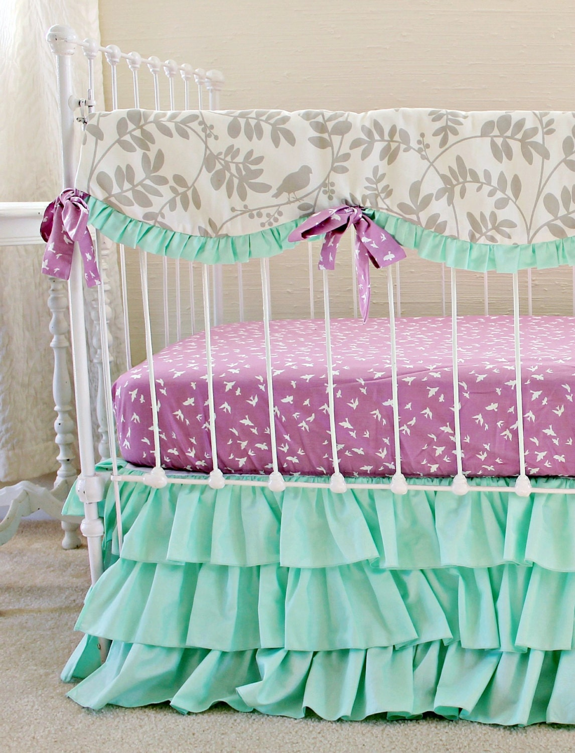 Baby girl paisley bedding - Mint Green Baby Girl Bedding Purple And Mint Modern Crib Bedding Lavendar Gray Mint Purple Crib Set Mint Ruffle Crib Skirt Lottiedababy