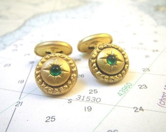 Small Gold Curved Bar Cufflinks with Green Center