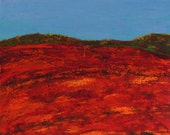 landscape painting, maine blueberry fields in autumn  FREE SHIPPING