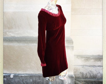 60s Vintage Red Burgandy Velvet Baby Doll Mini Dress small medium Ribbon Trim 1960s