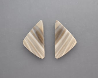 Polish Flint Cabochon Pair