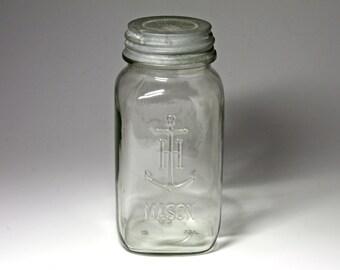 Vintage Anchor Hocking Mason Jar - One Quart Jar - circa 1940's