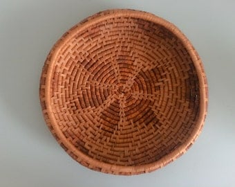 vintage handwoven basket tray