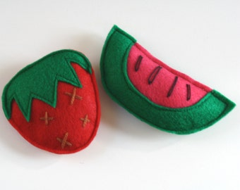 Cat Toy -Strawberry and Watermelon Felt Catnip Cat Toys Set, catnip, cat toys, gift for cats, felt cat toy, cute cat toys, natural catnip