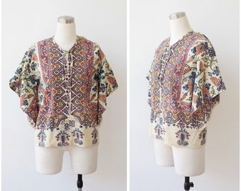 25% off Sale. 1970s vintage dashiki blouse, boho hippie festival top, angle sleeve blouse