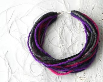 Gift for her, felted necklace, wool necklace, original accessory, statement necklace, eco friendly, textile necklace, wool felt jewelry