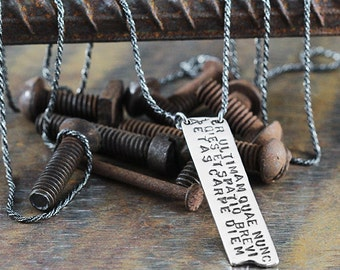 Carpe Diem Pendant Personalize Stamp Necklace Man Custom Jewelry
