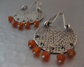 Modern Sterling Silver Disk Earrings with Carnelian