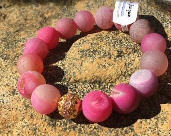 Beautiful 12mm Fuschia Druzy Agate wirh Gold and Pink Bling Ball Gemstone Bracelet