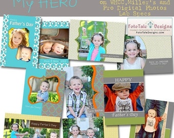 SALE My Hero Father's Day Card Collection - 5 custom card templates for photographers