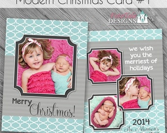 SALE INSTANT DOWNLOAD - Modern Christmas Card No. 1 - 5x7 photo card templates for photographers on whcc and millers lab specs