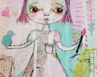 Whimsical Folk Art Girl, Art Print, Pink, Mixed Media art collage, Bird art,Christian Art, Primitive art, Home,  happy life-by Judie Parsons