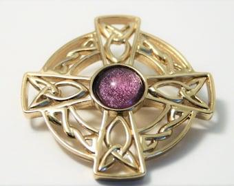 Vintage Celtic cross brooch.  Purple glass brooch
