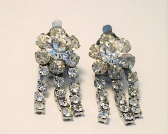Vintage crystal earrings.  Clip on earrings.