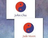 Yin Yang Note Cards, Contemporary Colors, Custom Personalized, Man or Woman, Name or Initials, Made to Order, Navy Blue, Bright Orange