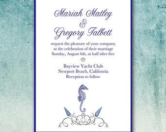 DIY Beach Wedding Invitation, DIY Party Printable, Vintage Seahorse, Shells and Flourish, Nautical, Rehearsal Dinner, Anniversary, Birthday