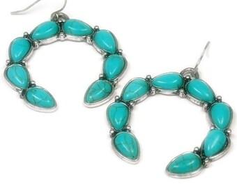 Squash Blosson Earrings, Southwest, Native Symbol, Turquoise Earrings, Turquoise Jewelry, Turquoise Squash Blossom, Boho, Dangle, Chunky