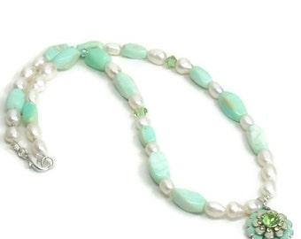 Peruvian Opal Necklace, Freshwater Pearls, Opal Jewelry, Simple, Dainty, June Birthstone, Bridal Jewelry, Bride Necklace, Wedding, Pastel