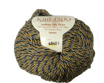 Knit Picks Yarn, Andean Silk Twist in Sunset, Camel, Silk and Wool Blend, Blue, Brown Yellow and Gray Plied, Worsted Weight