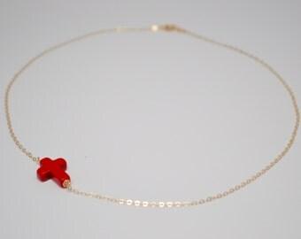 Sideways Cross Necklace, Red Sideways Cross Necklace, Red Cross Necklace,  Loving You