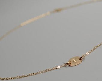 Sideways Letter Necklace, Sideways Handstamped Letter Necklace, Sideways Gold Disc Necklace