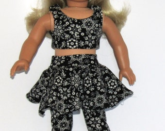 """Black and White  4 Piece Skater Skirt Mix and Match Outfit  fits American Girl Doll Clothes 18"""""""