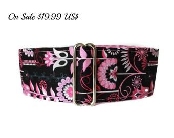 2 Inch Martingale Collar, Pink Martingale Collar, Hot Pink, Black, Pink and Black Dog Collar, Greyhound Collar