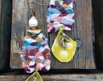 LOVE Sale Fabric EARRINGS artsy earrings, chinese cookie earrings, boho earrings,colorful earrings, charm earrings,rainbow earrings ZASRA