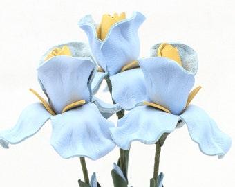 Leather flower iris bouquet baby blue spring Wedding Third Anniversary Gift Long Stem Flower 3rd Leather Anniversary Gift
