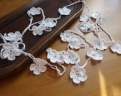 Handmade Crochet Small Beaded Flower Garland .