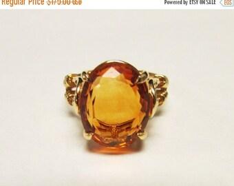 On Sale Vintage Estate 10K Yellow Gold Citrine  Ring