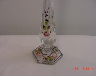 Vintage Hand Painted Glass Bud Vase    16 - 215