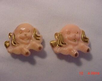 Vintage Pink Plastic Puppy Dog Barrette Set    16 - 17