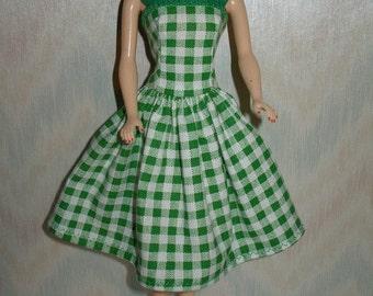 Handmade Barbie clothes -green and white plaid dress