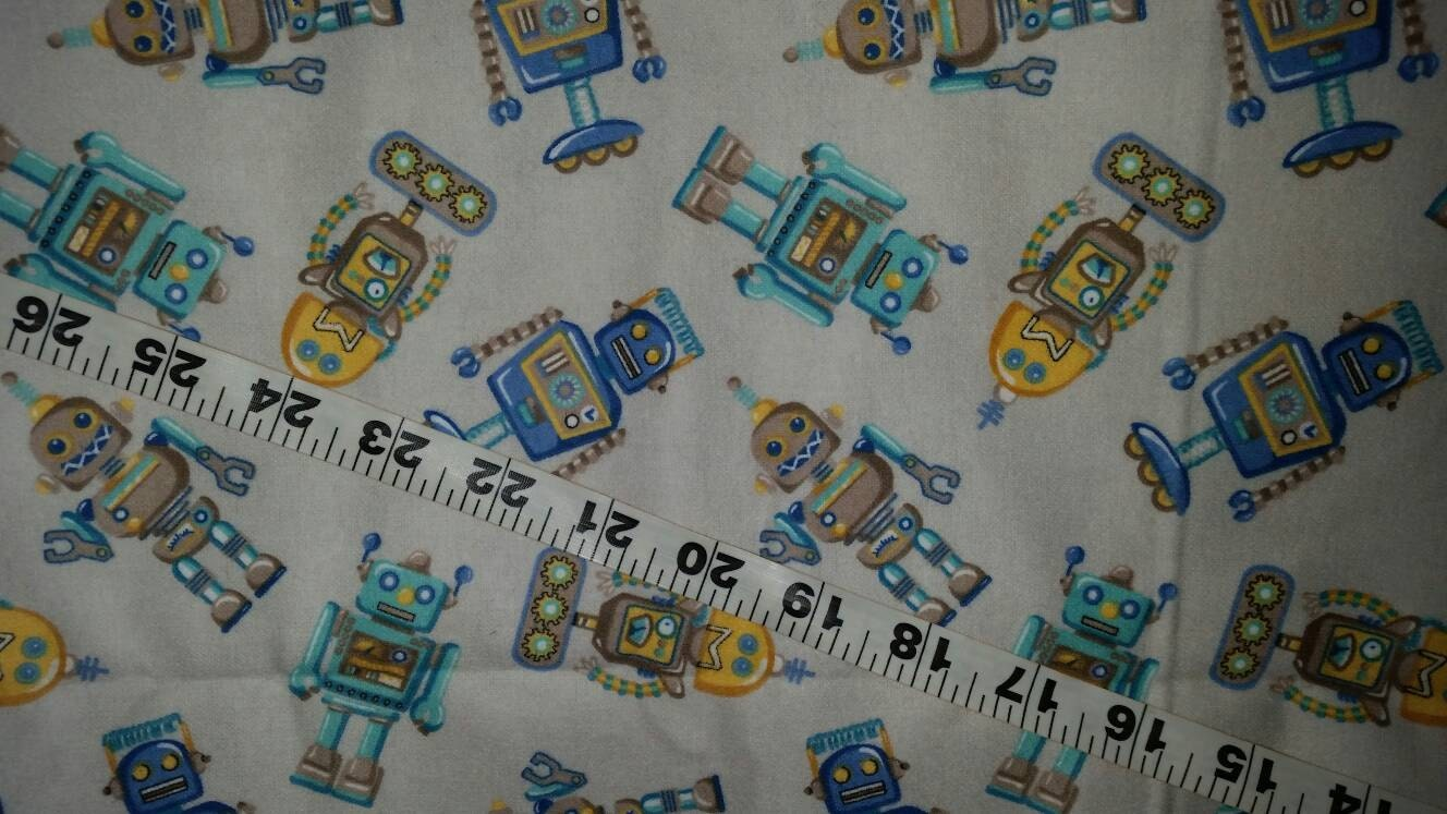 Kids flannel fabric with robots cotton print quilt sewing for Childrens cotton fabric by the yard
