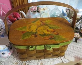 Vintage Caro Nan Basket Purse-Fall Theme-Excellent-Dated 1970
