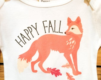 NEW Fall Onesies®, Happy Fall Fox Onesie, Baby Boy Onesie, Autumn Onesie, Woodland Animals, Graphic Onesie, Baby Singlet, Fox, Fall Baby