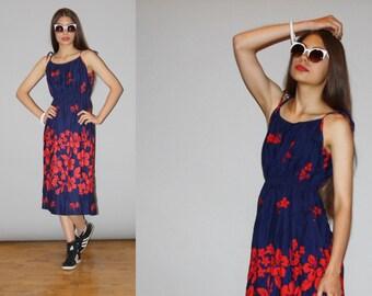 1980s  Tropical Floral Red and Blue Hawaiian  Graphic  Summer Sundress Dress   - 80s Hawaiian Dress - WD0847