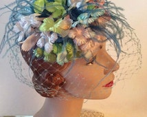 Vintage 1950s 1960s Hat Mini Fascinator Feather Floral Veiled Pink Blue Green Millinery Colorful Pastel Confection For Your Head