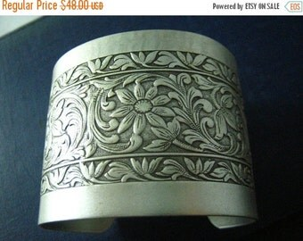 Art nouveau floral cuff--- Aged sterling silver brass, highly detailed, ornated, adjustable Victorian bangle/cuff