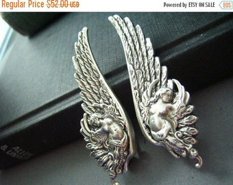 CLEAROUT SALE 40% OFF Ear cuff No Piercing--vintage style ox sterling silver plated brass mythological angel wing earrings, E476