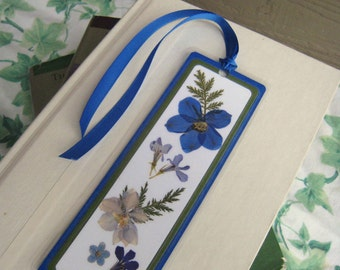 Pressed Flower Laminated Bookmark Blue and Green Collage Style
