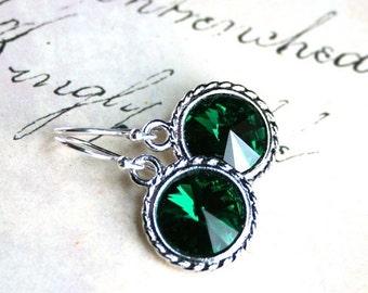 ON SALE Emerald Green Swarovski Crystal Rivoli Earrings - Handmade with Swarovski Crystal and Sterling Silver