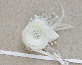 Bridal hair accessories, Wedding hair flower, Bridal hair piece, Ivory hair flower, Bridal hair flower, Bridal headpiece, Wedding hairpiece