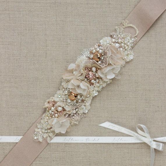 Unique Wedding Dress Sashes Belts: Rose Gold Belt Sash Wedding Belt Bridal Belt Wedding Dress