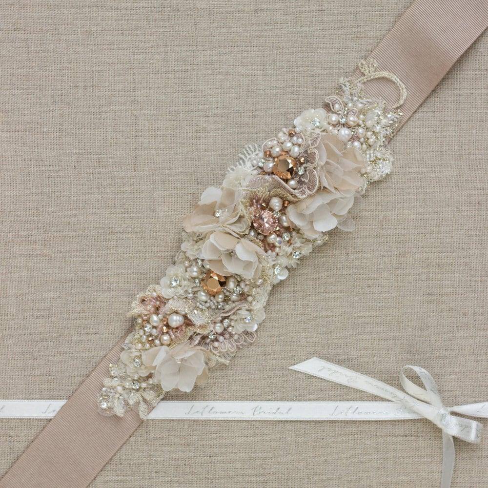 Rose gold belt sash wedding belt bridal belt wedding dress for Gold belt for wedding dress