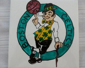 Boston Celtics Hand Painted Tile Coaster Trivet Wall Decor