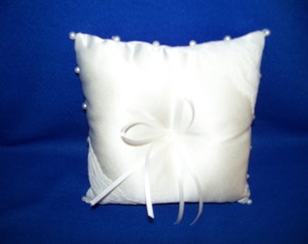 "Ivory  Satin Ring Bearer Pillow  With Pearls & Ivory Lace ,Ribbons  (6"" X 6"")"