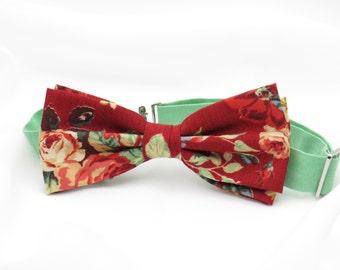 Mens Dark Red Floral Rose Bow tie Cotton Bowtie Pre tied Men Women Boy Baby Children Bow tie Country Wedding Bow tie for Groom Groomsmen